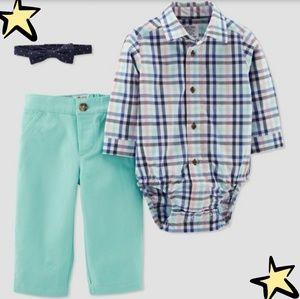 NWT Size 3M Baby Boys' Plaid 3-Piece Pant Set